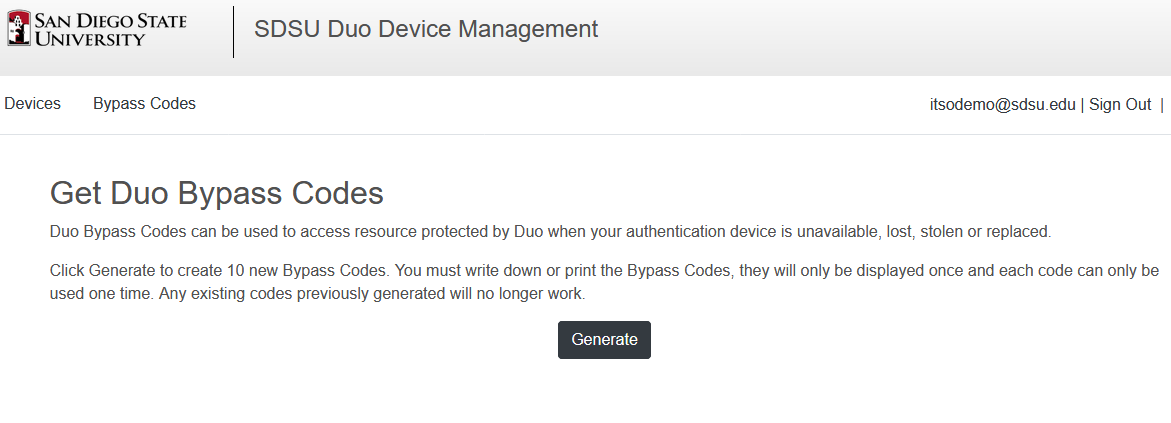 duo bypass codes